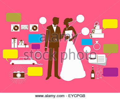 Bride and groom surrounded by wedding price tags - Stock Photo
