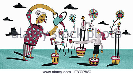Teacher watering students and flowers growing in plant pots - Stock Photo