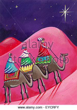 Three kings following christmas star on camels - Stock Photo