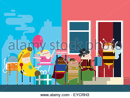 Children arriving at birthday party in fancy dress - Stock Photo