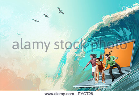 People surfing the internet standing on laptop on large ocean wave - Stock Photo