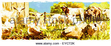 Watercolor painting of various farmyard animals in field together - Stock Photo