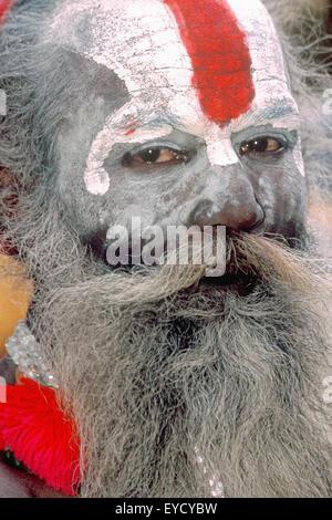 Portrait of a Holy man, Pashupatinath, Katmandu, Nepal, Asia - Stock Photo