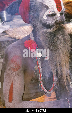 Portrait of a Holy man, Pashupatinath, Katmandu, Nepal, Asia - Stock Photo