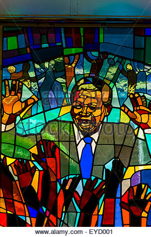 Nelson Mandela stained glass window at Regina Mundi Church, Soweto, Johannesburg, South Africa. It is the largest - Stock Photo
