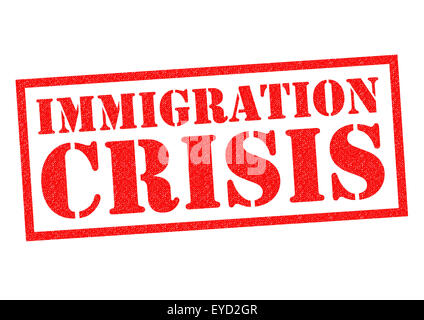 IMMIGRATION CRISIS red Rubber Stamp over a white background. - Stock Photo