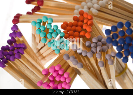 Multicoloured safety match heads. Long matches for lighting a fire. - Stock Photo