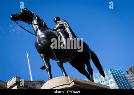 Equestrian bronze statue of the Duke of Wellington at the Royal Exchange in London by Francis Leggett Chantrey - Stock Photo