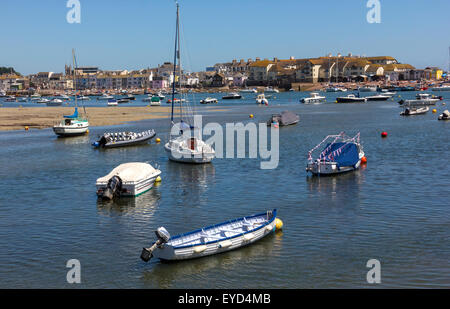 Summer View of Teignmouth Back Beach and River Front Properties at Low Tide With Boats Moored in the Teign Estuary, - Stock Photo