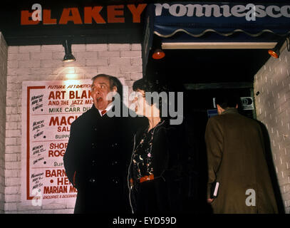 Spike Milligan outside Ronnie Scott's Jazz Club Frith St Soho London UK. April 1984 - Stock Photo