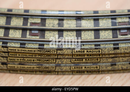 Toy train track, Hornby-Dublo, Meccano 1950's, stracked three rail curved tracks stacked on top of each other. Large - Stock Photo