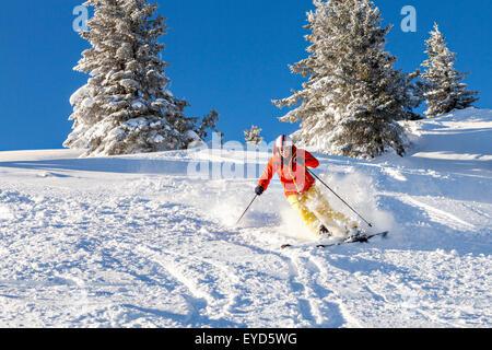 Ski holiday, woman skiing downhill, Sudelfeld, Bavaria, Germany - Stock Photo