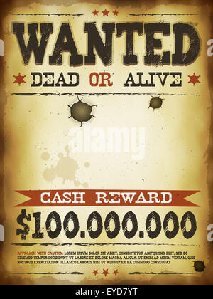 Delightful ... Cash Reward; Illustration Of A Vintage Old Wanted Placard Poster  Template, With Dead Or Alive Inscription,