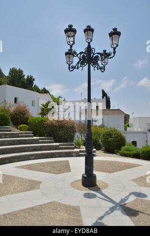 Lamp street in a square in the village of Medina Sidonia, a white town of the province of Cadiz, Andalusia, Spain - Stock Photo