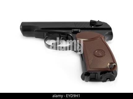Soviet 9mm PM (Makarov) gun isolated on white background - Stock Photo