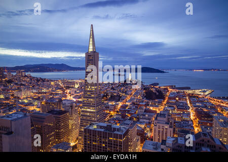 Aerial view of San Francisco cityscape at night with city lights - Stock Photo
