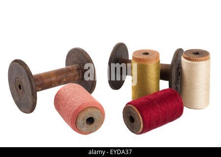 Colored threads wound on bobbins