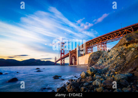 San Francisco Golden Gate Bridge at sunset - Stock Photo