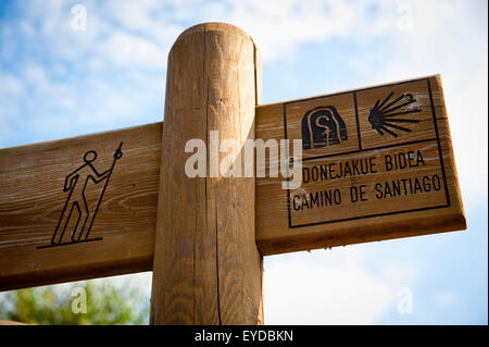 Camino De Santiago Or The Way Of St James Signs On The Road, Basque Country, Spain - Stock Photo