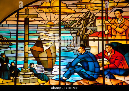 Glasswork Inside Casa De Juntas, House Of The Historical Archive Of The Basque Country, Gernika-Lumo, Basque Country, - Stock Photo
