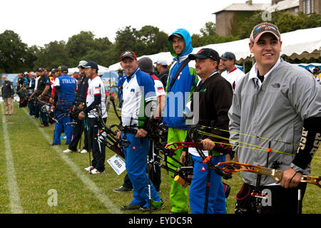 Copenhagen, Denmark, July 27th, 2015. Compund bow archers waits at their line for the start signal in men's qualifying - Stock Photo