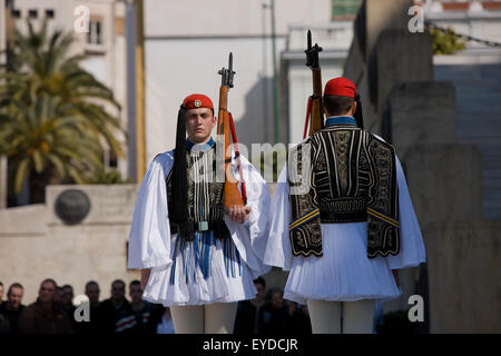 Two Greek Tsoliades or Evzones standing aside eachother during the change of presidential guards. Syntagma, Athens, - Stock Photo
