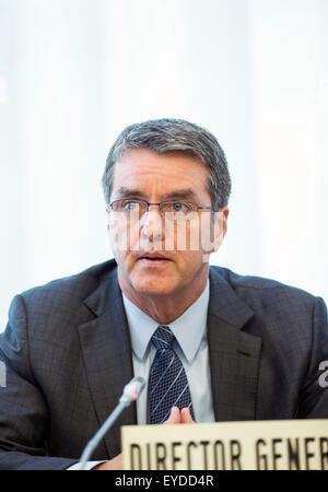 Geneva, Switzerland. 27th July, 2015. World Trade Organization (WTO) Director General Roberto Azevedo addresses - Stock Photo