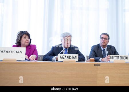 Geneva, Switzerland. 27th July, 2015. Zhanar Aitzhanova, Minister for Economic Integration of Kazakhstan, Erlan - Stock Photo