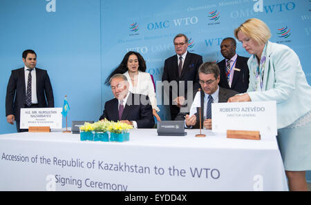 Geneva, Switzerland. 27th July, 2015. World Trade Organization (WTO) Director General Roberto Azevedo (2nd R, Front) - Stock Photo