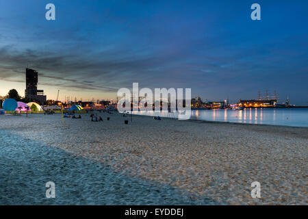 Marina in Gdynia city on the Baltic sea - Stock Photo