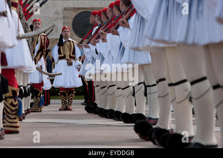 Dressing the Tsoliades regiment infantry at the Unknown soldier memorial in Syntagma, during a ceremonial event. - Stock Photo