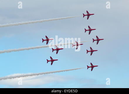 RAF Red Arrows Display Team at Sunderland Airshow 2015 - Stock Photo