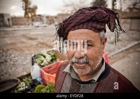 Portrait Of A Kurdish Street Vendor, Sulaymaniyah, Iraqi Kurdistan, Iraq - Stock Photo
