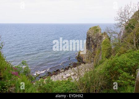 Granite Cliffs 'Jons Kapel', Westcoast, isle of Bornholm, Denmark - Stock Photo