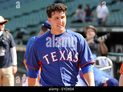 Arlington, Texas, USA. 27th July, 2015. Texas Rangers starting pitcher Derek Holland #45 before an MLB game between - Stock Photo