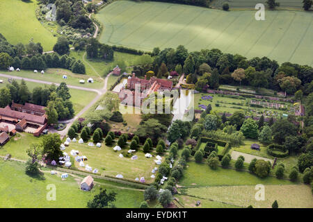 aerial photo of Kentwell Hall, Suffolk, UK - Stock Photo