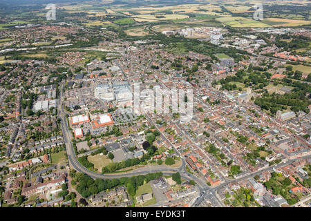 aerial photo of Bury St Edmunds town centre, Suffolk, UK - Stock Photo