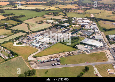 aerial view of Eye airfield industrial estate in Suffolk, UK - Stock Photo