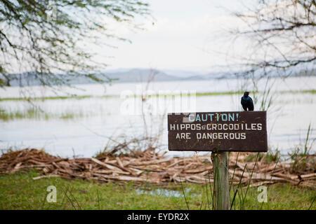 Kenya, Warning sign next to Lake Baringo; Rift Valley - Stock Photo
