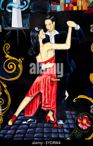 Tango Dancers Painted On A Wall, Buenos Aires, Argentina - Stock Photo