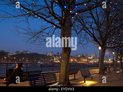 UK, England, View Of St Paul's Cathedral and Thames from South Bank; London - Stock Photo