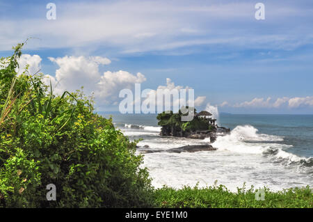 coast Tanah Lot temple Complex, in Bali island Indonesia - Stock Photo