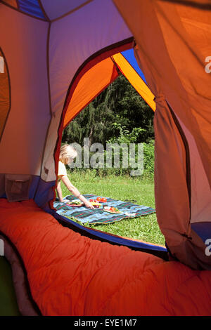 ... Usa New York State Woman Setting Up Picnic Seen From Tent; Hudson Valley & Usa New York State Tent And Picnic On Grass At Camping Site ...