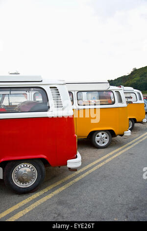United Kingdom, Wales, Pembrokeshire, Volkswagen Bus Gathering; Wiseman - Stock Photo