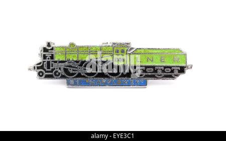 An enamel British steam train badge. LNER Thompson class B1 1306 MAYFLOWER - Stock Photo