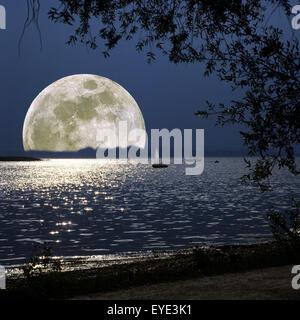Vollmond, Chiemsee, Landschaft, Fotomontage - Stock Photo