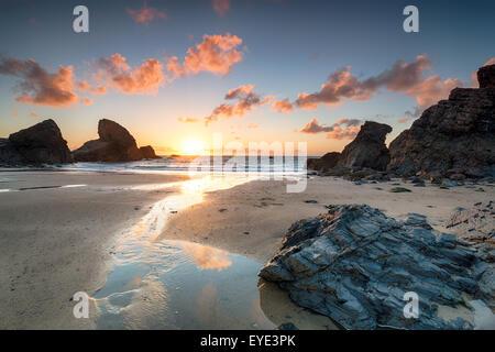 Sunset at Porthcothan bay on the north Cornwall coast - Stock Photo