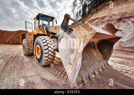 Shovel excavator in kaolin pit, mining of kaolin, Gebenbach, Bavaria, Germany - Stock Photo