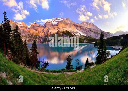 Mountains in the evening light at the Oeschinensee lake, UNESCO World Heritage Site, Kandersteg, Canton of Bern, - Stock Photo