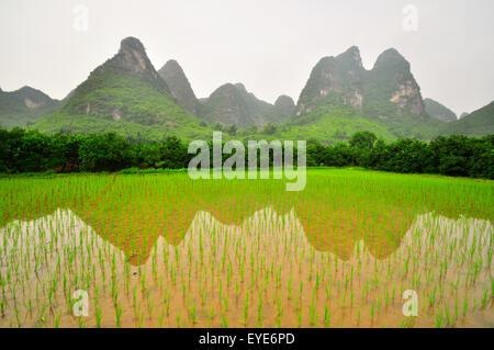 Beautiful Li river side Karst mountain landscape in Yangshuo Guilin, China - Stock Photo